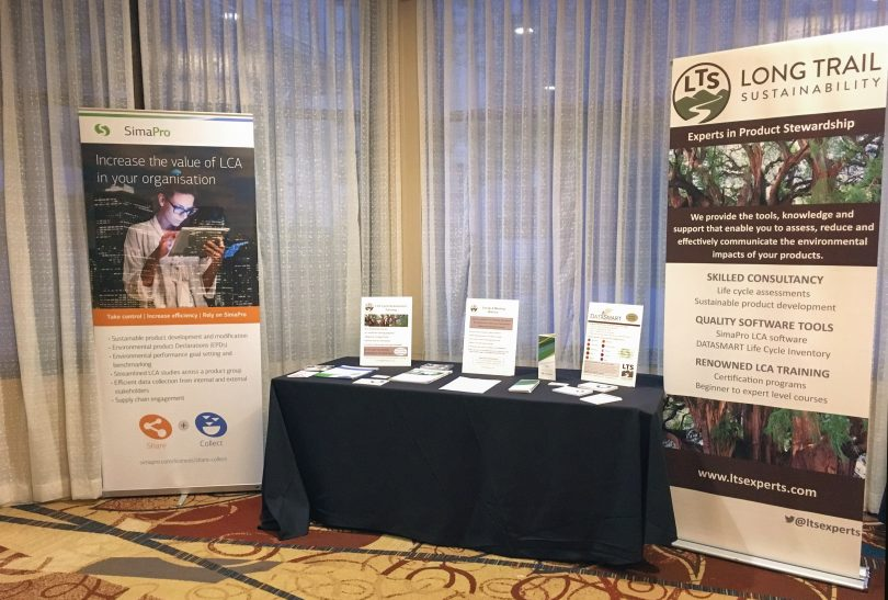 SimaPro user meeting booth with LTS in Fort Collins, Colorado in 2018