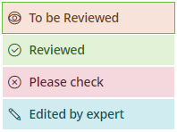 Review statuses: To be reviewed, reviewed, please check and edited by expert