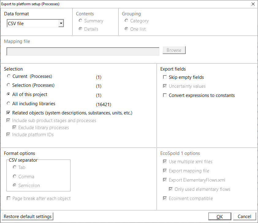 Export to platform settings