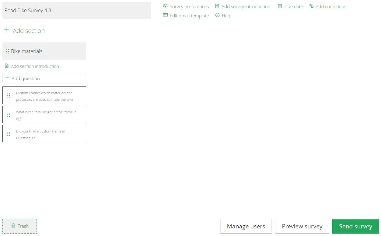Edit Collect survey dashboard