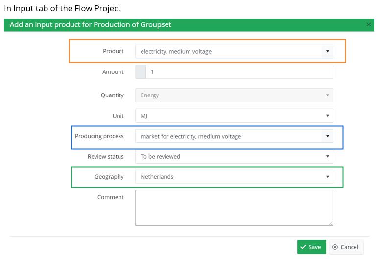 Flow Project Input Tab